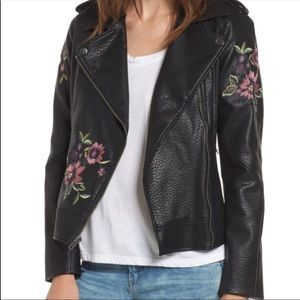 NWT BB Dakota Embroidered Faux Leather Jacket